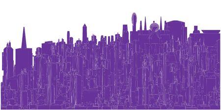 Futuristic Megalopolis City Of Skyscrapers Vector Landscape View