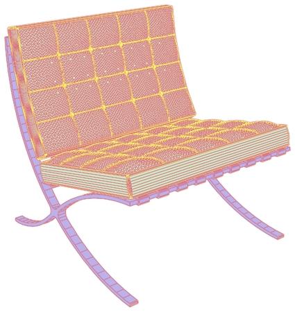 Modern armchair vector illustration on white background.
