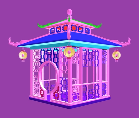 Traditional Chinese gazebo garden pavilion. Colorful vector illustration.