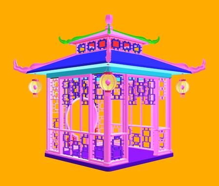전통적인 중국 전망대 정원 파빌리온입니다. 다채로운 벡터 일러스트 레이 션.