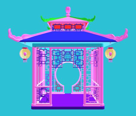 Traditional Chinese Gazebo Garden Pavilion Colorful Illustration Vector 일러스트