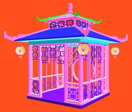 중국어 번체 전망대 가든 파빌리온 다채로운 일러스트 벡터 일러스트