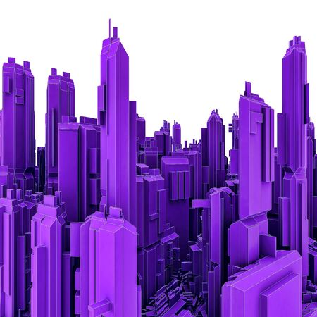 3D Illustration Of Panoramic View Of Futuristic City Skyscrapers