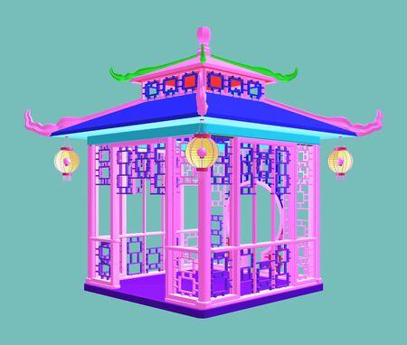 Traditional Chinese Gazebo Garden Pavilion Colorful Illustration