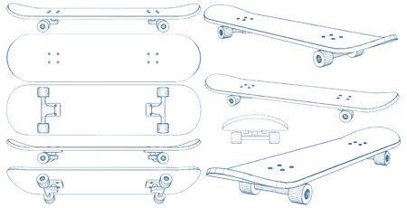 Skateboard Illustration Isolated On White Vector