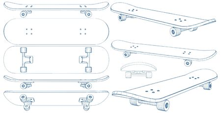 Skateboard Illustration Isolated On White Vector
