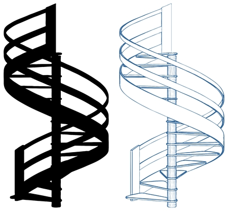 Spiral Staircase Vector Isolated On White Иллюстрация
