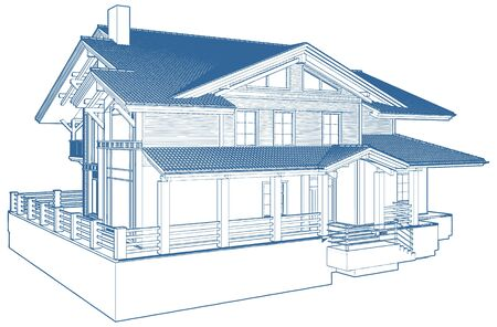Residential family house building vector illustration.