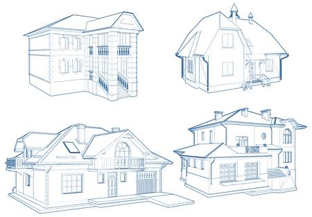 Residential Family Houses Building Vector