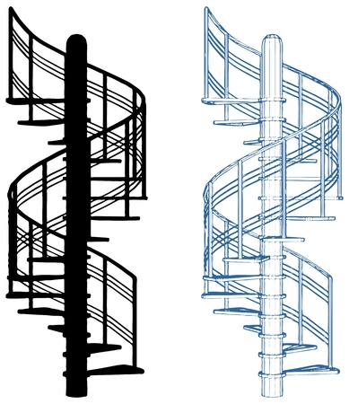 Spiral Staircase Vector Isolated On White background.