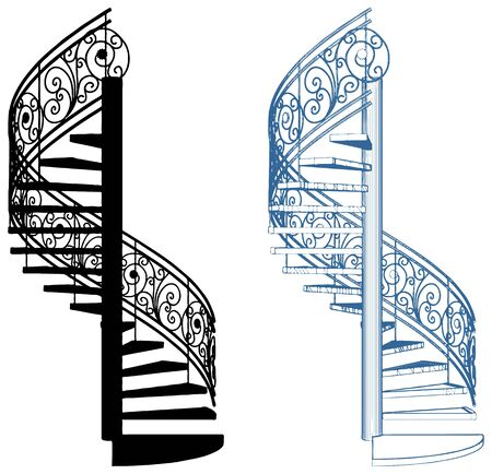 Spiral staircase vector, isolated on white background.