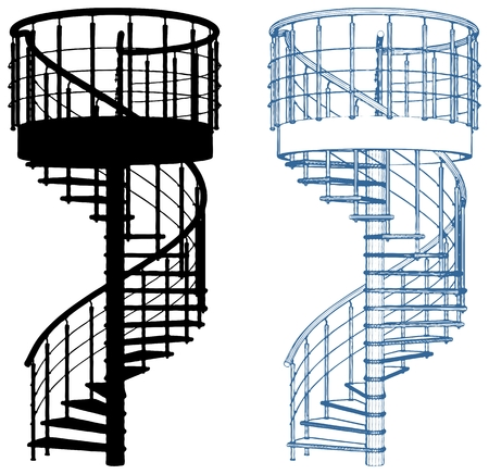 Spiral staircase vector, isolated on white on background. Vettoriali
