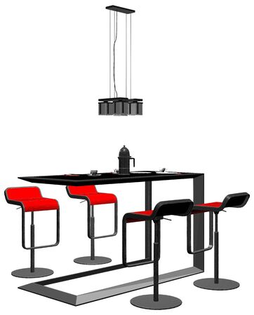 Modern Dining Room Table Vector 05 Dining table with four chairs and a chandelier above, isolated on white background.