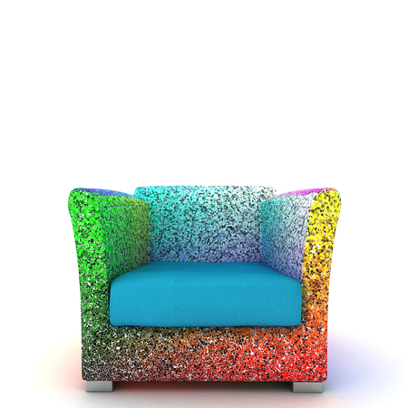 3D Illustration Of Colorful Modern Armchair. Made with urban mosaic ornamental color and blue leather.