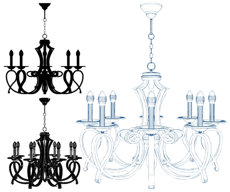 Luster Chandelier Isolated Illustration On White Vector