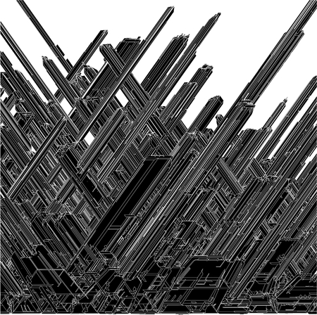 Futuristic Skew Megalopolis City Of Skyscrapers Vector