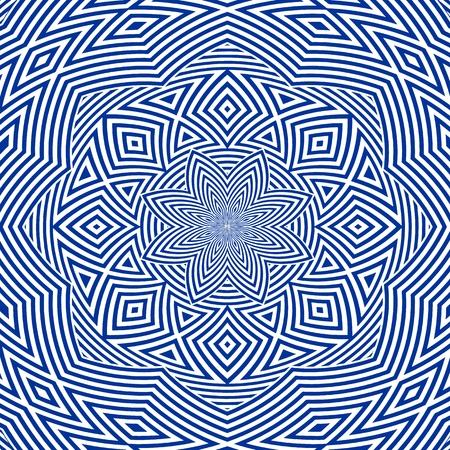 Hypnotic Flower Stripe Shapes Vector Illustration
