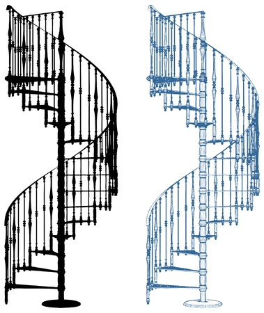 Spiral Staircase Isolated On White Background Vector
