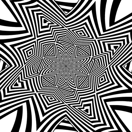 Hypnotic Black And White Stripe Shapes Vector Stock Vector - 102810517