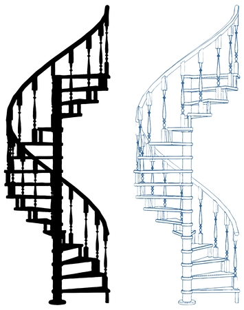 Spiral Staircase Isolated On White Background Stock Illustratie