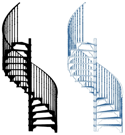Spiral Staircase Isolated On White Background Illustration