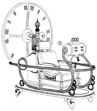 Zeitmaschine isoliert auf weißem Hintergrund