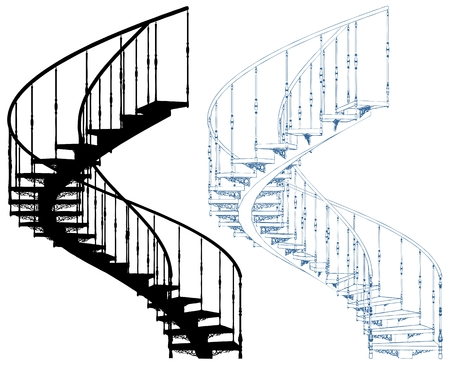 Spiral Staircase Isolated On White Background Ilustracja