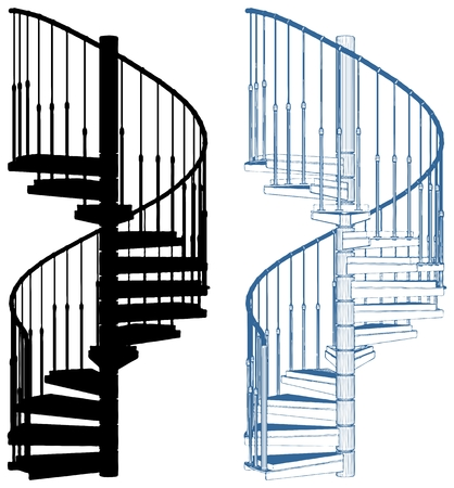 Spiral Staircase Isolated On White Background  イラスト・ベクター素材