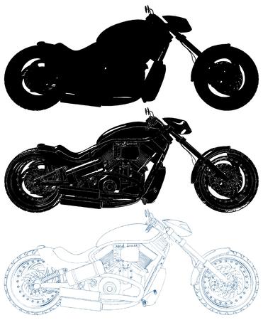 Motorcycle Isolated Illustration On White Background Vector Çizim