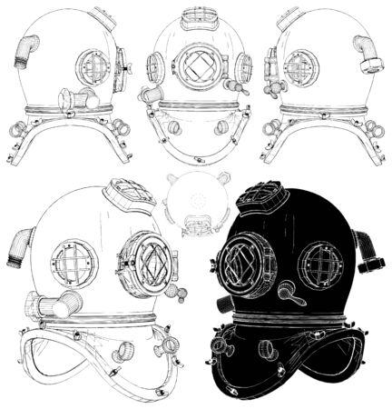 Old Retro Diving Helmet Isolated Illustration On White Background Vector