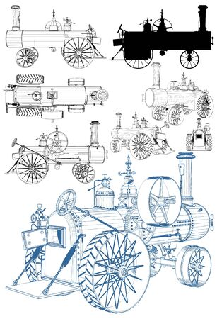 Old Retro Steam Tractor Engine Isolated Illustration On White Background Vector