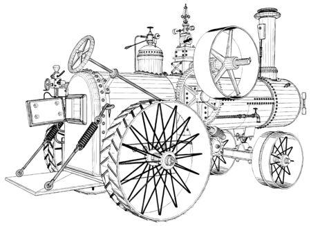Antiguo motor de tractor de vapor retro ilustración aislada sobre fondo blanco Vector