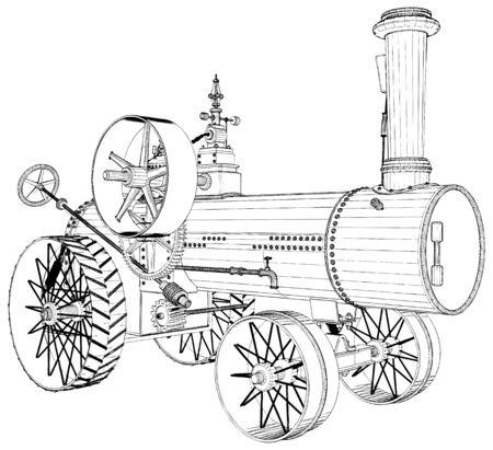 Vecchio motore del trattore a vapore retrò illustrazione isolata su sfondo bianco Vettoriali
