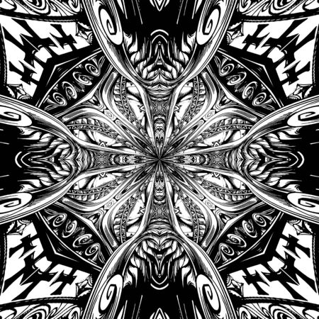 Abstract Cross Kaleidoscope Isolated On White Background Vector