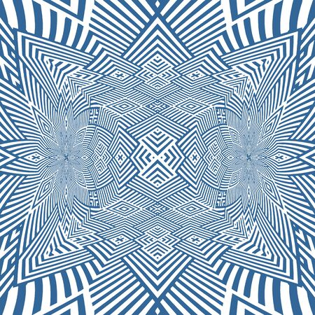 Abstract Cross Kaleidoscope Isolated On White Background Vector. Seamless endless pattern
