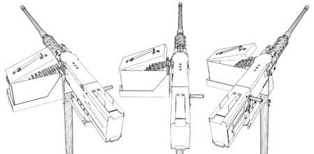 Browning Machine Gun Vector Stock Illustratie