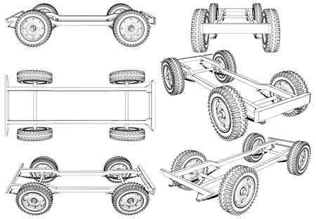 4x4  Wheels Suspension System Vector. Isolated On White Background. 矢量图像