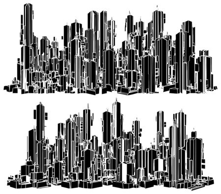 Futuristic Megalopolis City Of Skyscrapers Vector. Landscape View Isolated Illustration. Illusztráció