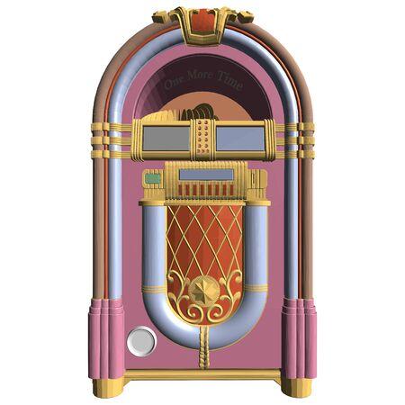 Retro Antique Jukebox Vector. Illustration Isolated On White Background.
