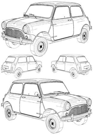 Retro Mini Car Vector. Illustration Isolated On White Background. A vector illustration Of A Car.