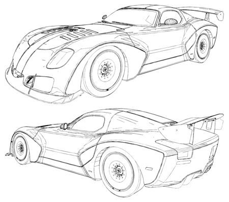 Luxury Sport Race Car Isolated Illustration On White Background Vector 免版税图像 - 128126001