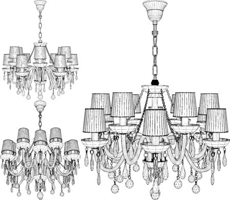 Luster Chandelier. Illustration Isolated On White Background. A Vector Illustration Of Luster Chandelier.