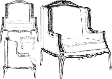 Vintage Retro Antique Chair Vector