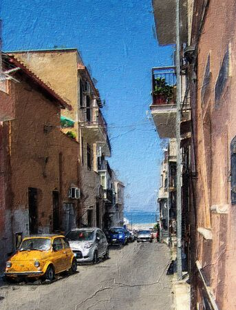 Traditional Italian Car In Street On Sicilia Oil Painting