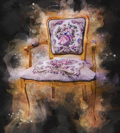 Vintage Retro Antique Chair 免版税图像