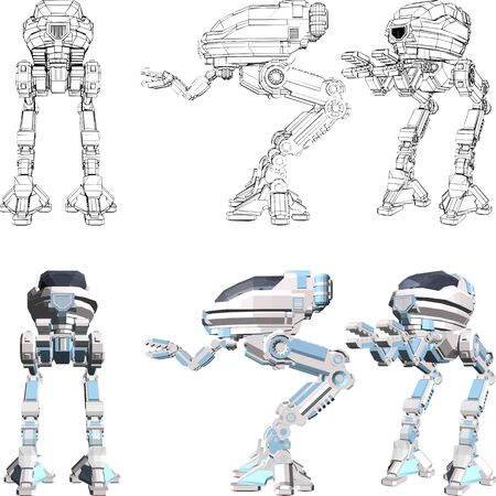 Android Vector. Illustration Isolated On White Background. A vector illustration Of A Robot Android.