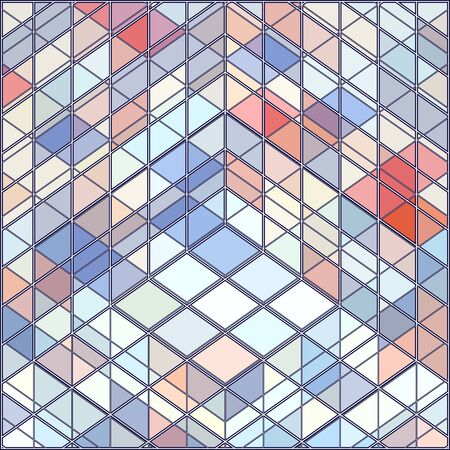 Geometric Colorful Pattern Background Vector. Mosaic hipster background made of triangles and quadrates. Retro label design. Square composition with geometric shapes. Hipster theme label.
