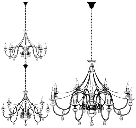 Luster Chandelier With Light Bulbs Vector. Illustration Isolated On White Background. A Vector Illustration Of Luster Chandelier.