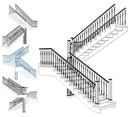 Wooden Staircase Isolated On White Vector. . Illustration Isolated On White Background. A Vector Illustration Of Staircase.