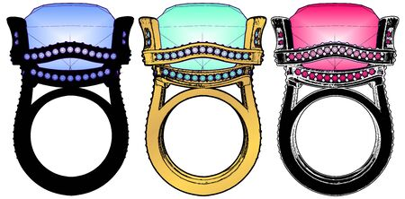 Ring With Diamond Crystal Vector on white Ilustrace